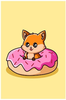 Cute fox on the donuts