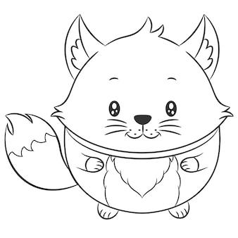 着色のためのかわいいキツネの描画スケッチ