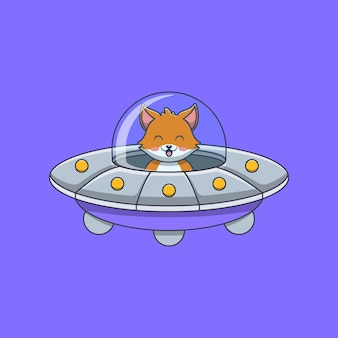 Милая лиса за рулем летающей тарелки