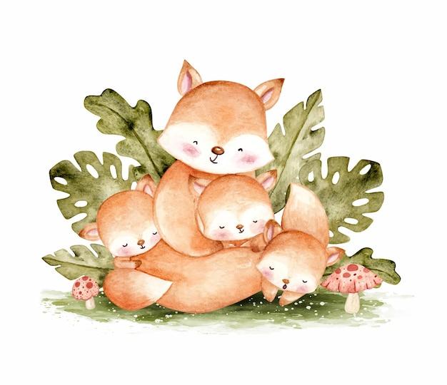 木の水彩イラストでかわいいキツネの家族