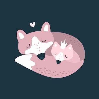 Cute fox family