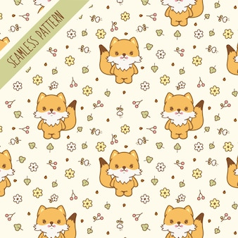 Cute fox, flowers and leaves  seamless pattern. premium