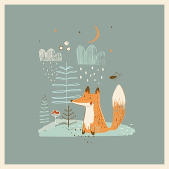 Cute fox in forest hand drawn vector illustration