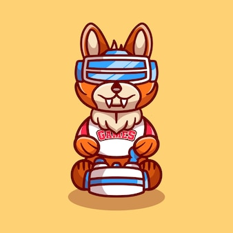 Cute fox gamer playing game with virtual reality headset