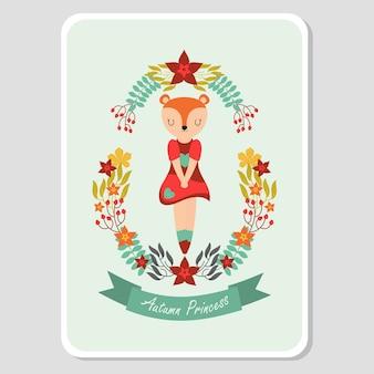 Cute fox girl on autumn element for autumn card