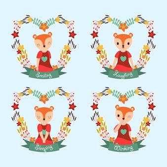 Cute fox girl on flower frames suitable for gift tag set