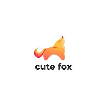 かわいいキツネのグラデーションのロゴのテンプレート