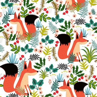 Cute fox and green leave seamless pattern