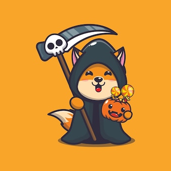 Cute fox grim reaper holding halloween pumpkin cute halloween cartoon illustration