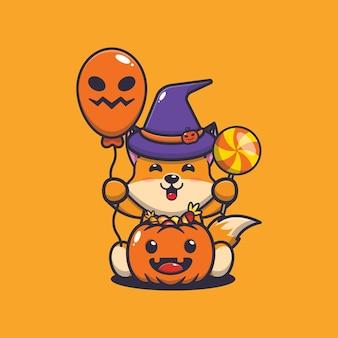 Милая лиса счастье в день хэллоуина милая иллюстрация шаржа хэллоуина