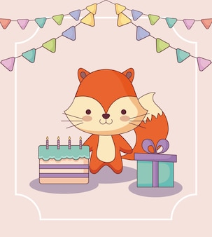 Cute fox happy birthday card with gift and icons