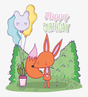 Cute fox happy birthday with balloons and plant