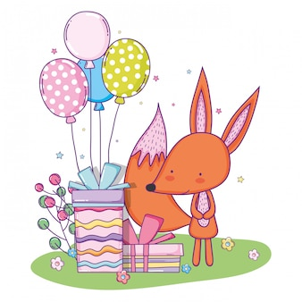 Cute fox happy birthday with balloons and present gift