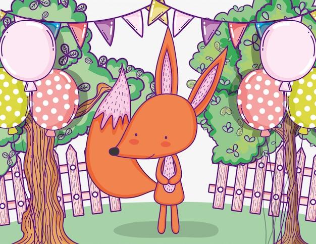 Cute fox happy birthday with balloons