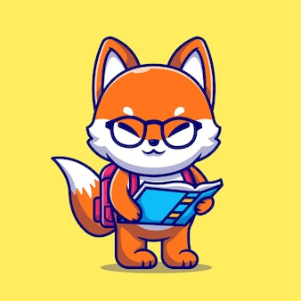 Cute fox holding book with backpack cartoon icon illustration.