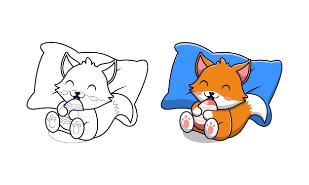 Cute fox holding egg cartoon coloring pages for kids