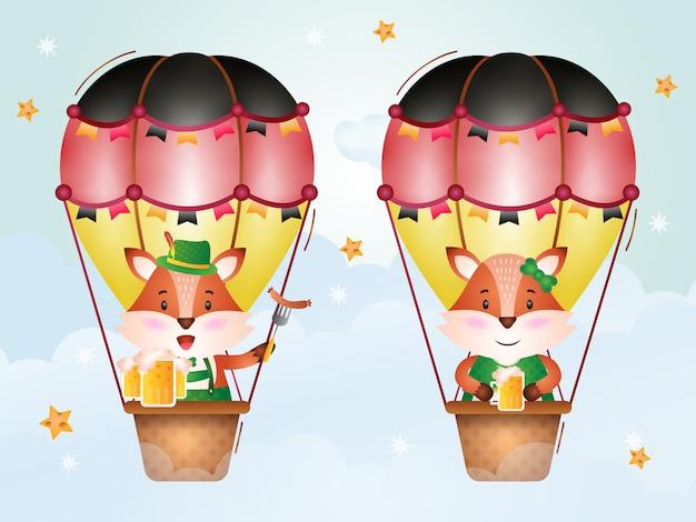 Cute fox on hot air balloon with traditional oktoberfest dress