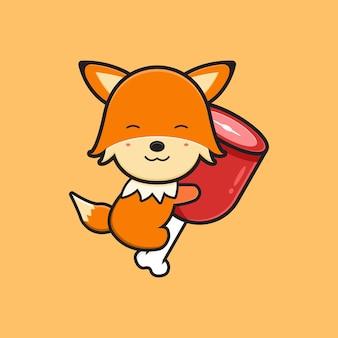 Cute fox hug on meat cartoon icon illustration. design isolated flat cartoon style