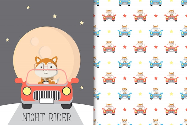Cute fox illustration driving a car with seamless pattern in the white backdrop