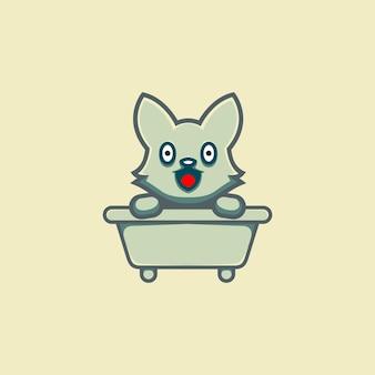 浴槽の上のかわいいキツネのイラスト