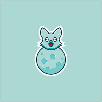 Cute fox illustration on planet in cartoon style