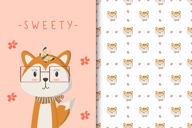 Cute fox illustration with seamless pattern