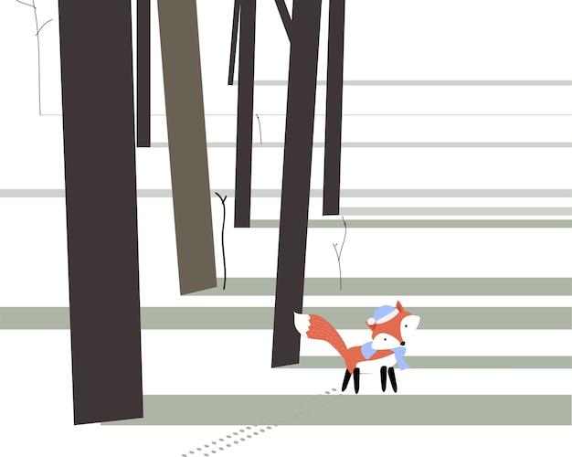 Симпатичная лиса в осенней лесной карте