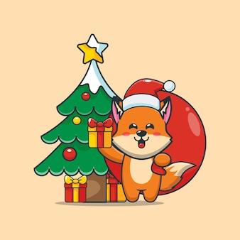 Симпатичная лиса в рождественский день с подарком симпатичная рождественская карикатура