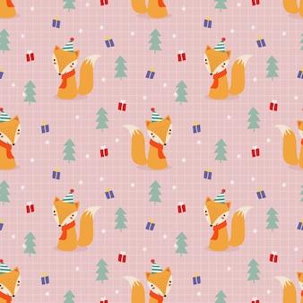크리스마스 테마 완벽 한 패턴에 귀여운 여우