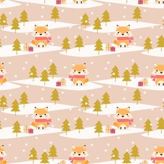 クリスマスのテーマのシームレスなパターンでかわいいキツネ
