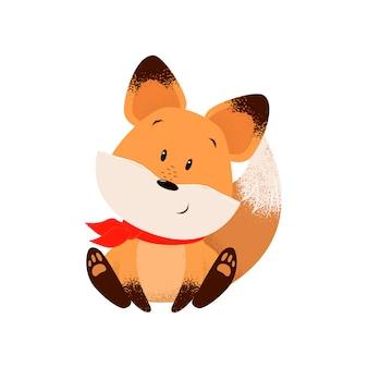 Cute fox in scarf