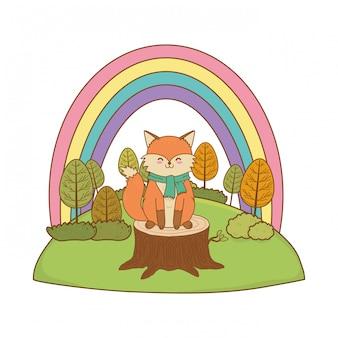 Милая лиса в поле лесного персонажа