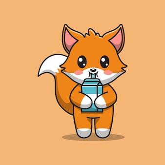 Милая лиса пьет молоко
