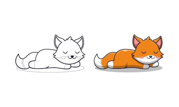귀여운 여우는 아이들을위한 만화 색칠 공부 페이지를 자고 있습니다.