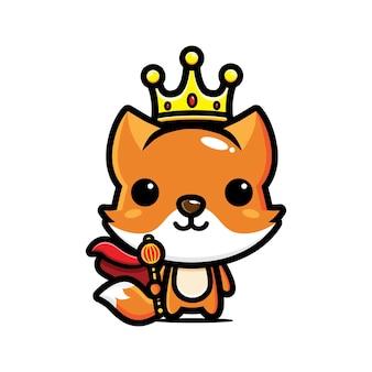 귀여운 여우 왕 캐릭터 흰색 절연