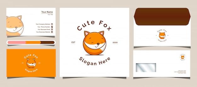 Шаблон дизайна логотипа cute fox. разработка логотипов, конвертов и визиток.