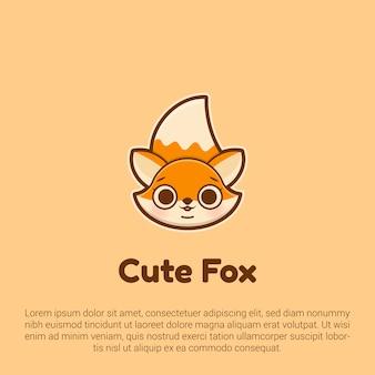 Милый шаблон логотипа фокс