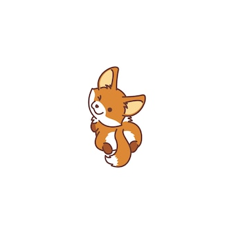 Cute fox looking back and winking vector icon