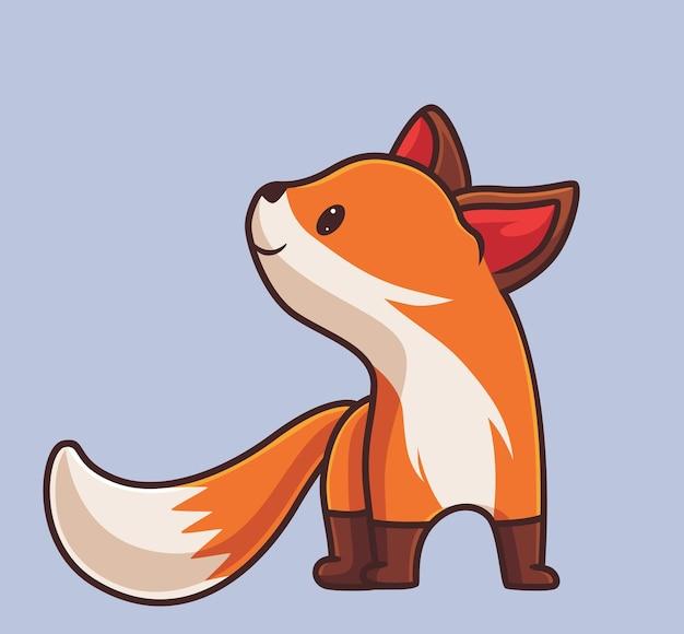 올려다보는 귀여운 여우. 격리 된 만화 동물 자연 개념 그림입니다. 스티커 아이콘 디자인 프리미엄 로고 벡터에 적합한 플랫 스타일. 마스코트 캐릭터