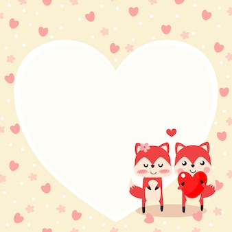 Cute fox in love and hold a red heart