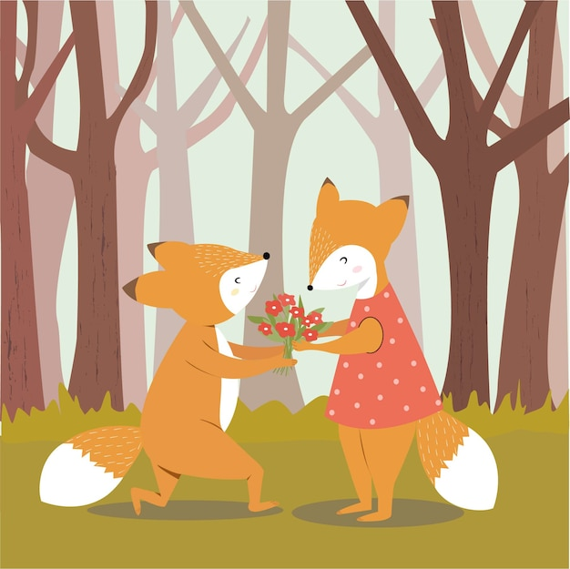 Cute fox man give flower to his girlfriend.