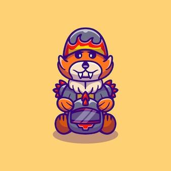 Cute fox motorcycle gang member
