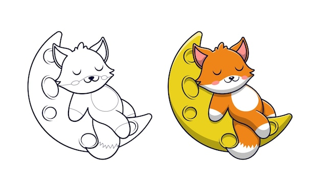 아이들을위한 달 만화 색칠 공부 페이지에 귀여운 여우