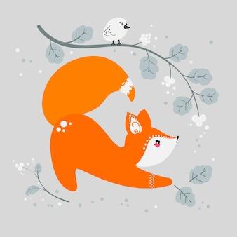 Милая лиса на фоне растений. лесное животное. фокс в плоском стиле. вектор