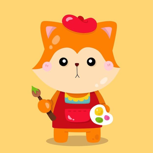 かわいいキツネの画家の漫画の動物のイラスト