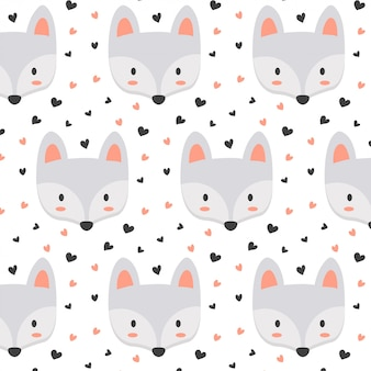Cute fox pattern with heart