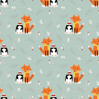 Cute fox and penguin in christmas season seamless pattern