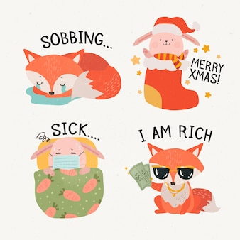Cute fox and piglet cartoon stickers