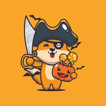 ハロウィーンのカボチャを運ぶ剣を持つかわいいキツネの海賊かわいいハロウィーンの漫画イラスト