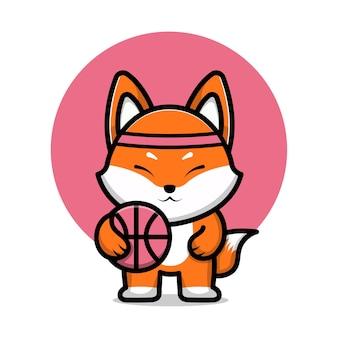 Cute fox playing basket ball cartoon icon illustration